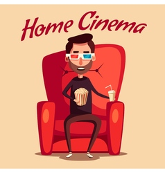 Home cinema Movie watching Cartoon vector image vector image