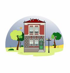 House with a green door vector