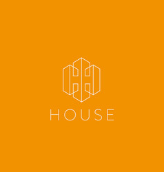 lined letter h house logotype premium home vector image vector image
