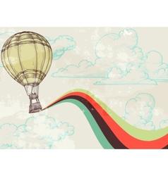 retro hot air balloon vector image vector image