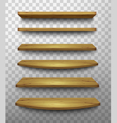 Set of wooden shelves on a transparent background vector image