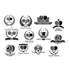 Table tennis icons tournament award badges vector