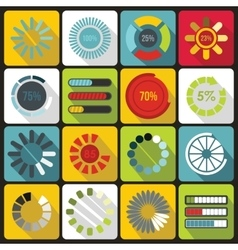 Loading bars and preloaders icons set flat style vector image