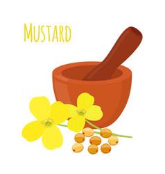 mustard mortar pestlecartoon flat style vector image vector image