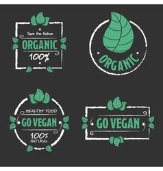 Organic food go vegan icons set vector