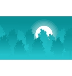 Silhouette of forest with moon landscape vector image