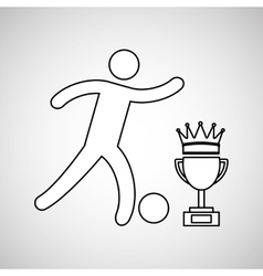 silhouette person soccer winner sport vector image