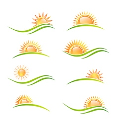Sun at Landscape Collection vector image vector image