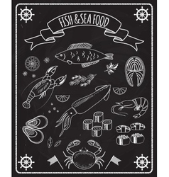 Fish and seafood blackboard elements vector image