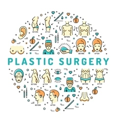 Flat infographics Plastic Surgery Beauty and vector image vector image