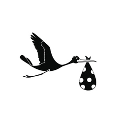 Flying stork with a bundle icon vector image vector image