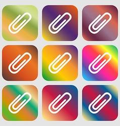 Paper clip sign icon clip symbol nine buttons vector