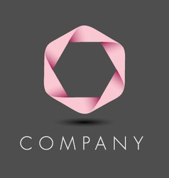 Pink hexagon ribbon logo vector