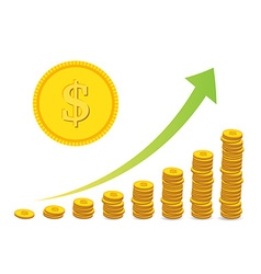 Stacked coin bars vector image