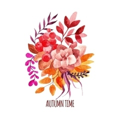 Watercolor autumn bouquet hand-drawn vector image