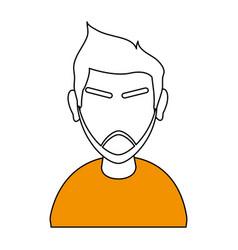white and orange silhouette of cartoon half body vector image vector image