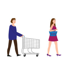 a guy with a shopping trolley a girl with a vector image