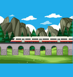 A modern rail travel to nature background vector
