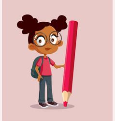 African school girl holding big pencil cartoon vector
