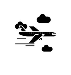 airplane black icon sign on isolated vector image