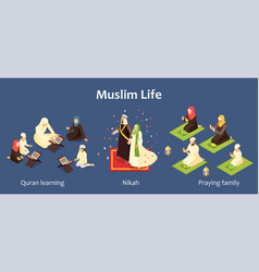 Arab family set vector
