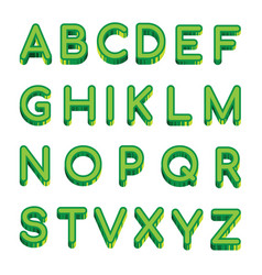 Art green letters latin alphabet isolated vector