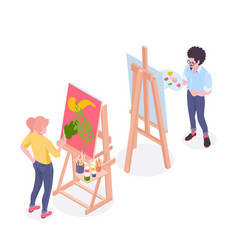 Artist painter isometric composition vector