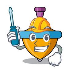 Automotive spinning top mascot cartoon vector
