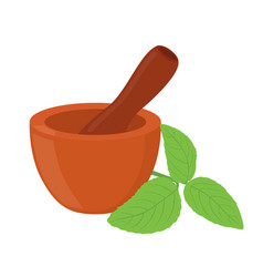 Basil herb mortar pestle cartoon style vector