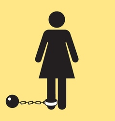 Bathroom woman icon with ball and chain silhouette vector