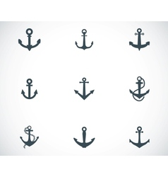 Black anchor icons set vector