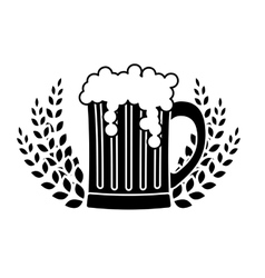 black beer glass with branches wheat image vector image