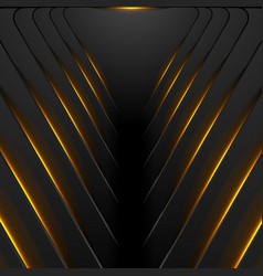 black hi-tech background with orange fiery light vector image