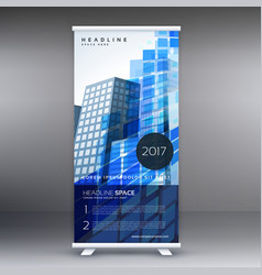 Blue abstract standee template design vector