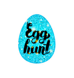 Blue egg hunt greeting vector