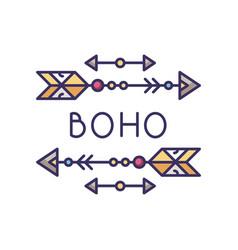 Boho aesthetic arrows rgb color icon bohemian and vector