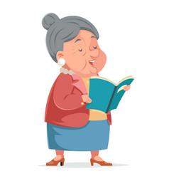 Book reading grandmother old woman granny vector