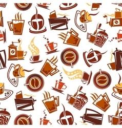 Brown coffee cups pots grinders seamless pattern vector