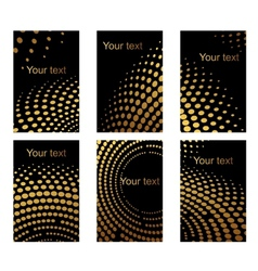 Business cards set with golden dots vector