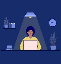 businesswoman in office at night vector image