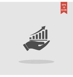 chart icon with hand Flat vector image