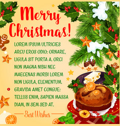 christmas holiday poster with new year dessert vector image