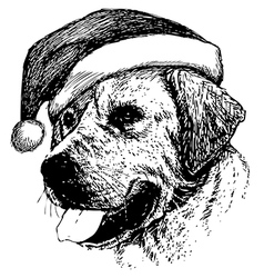 Christmas Labrador Retriever dog vector image