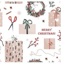 Christmas presents in kraft paper with becoration vector