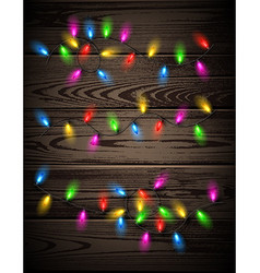 Color lights on wooden background vector image