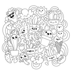 coloring bookfunny cacti vector image