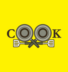 Cook font design with pan and spatula vector
