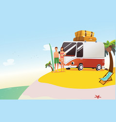 couple going on surfing summer vacation vector image
