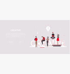 creative group - flat design style colorful banner vector image