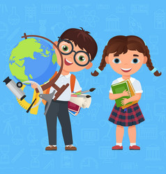 cute boy and girl kids back to school isolated vector image